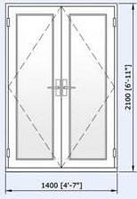 Logik 70mm French Door 1400mm by 2100mm